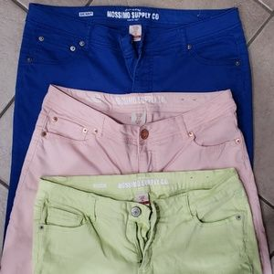 Three pair of Mossimo colored jeans